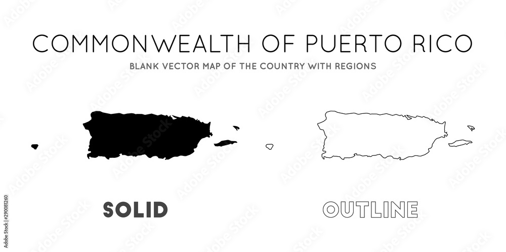 Fototapety, obrazy: Puerto Rico map. Blank vector map of the Country with regions. Borders of Puerto Rico for your infographic. Vector illustration.