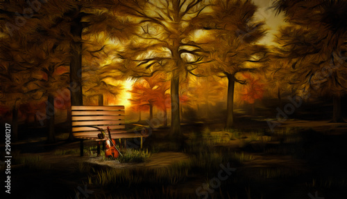 Digital painting in impressionism style. Violin in autumn park Canvas Print