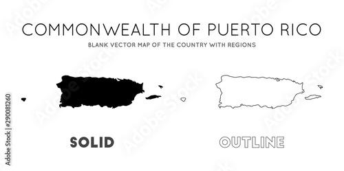 Stampa su Tela  Puerto Rico map