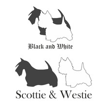Silhouettes Of Scottish And West Highland White Terriers Pattern