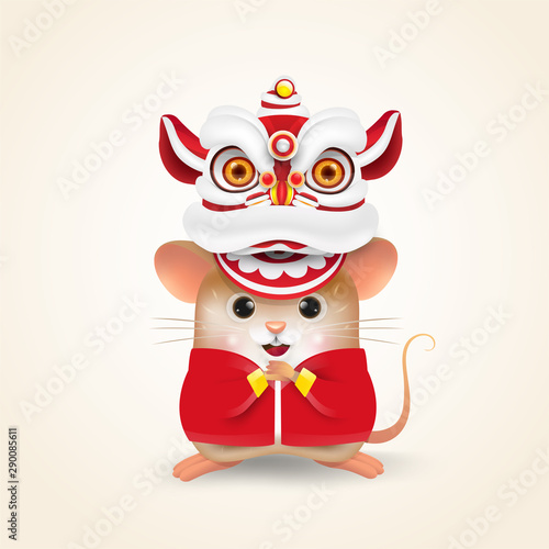 Little Rat or Mouse performs Chinese New Year Lion Dance and Chinese traditional Tablou Canvas