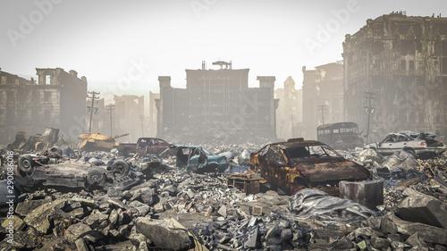 Fototapeta post Apocalypse, Ruins of a city. Apocalyptic landscape
