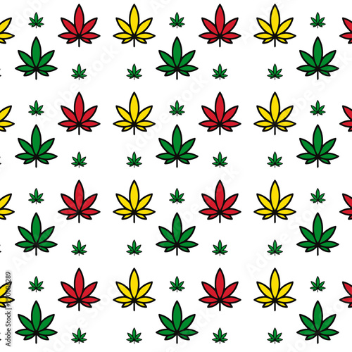 Fototapeta  Vector seamless beautiful colored marijuana pattern