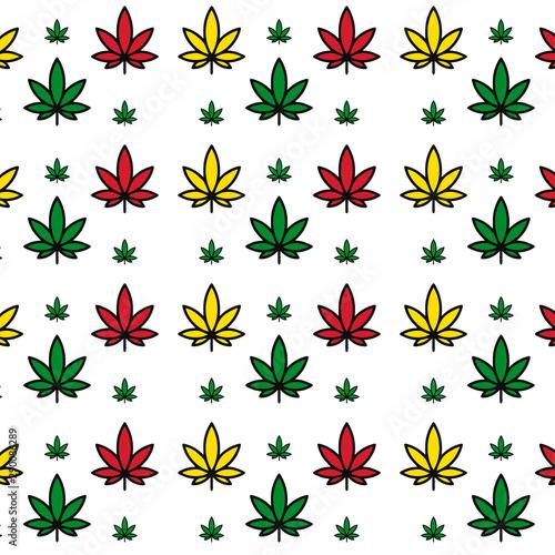 Fototapeta Vector seamless beautiful colored marijuana pattern