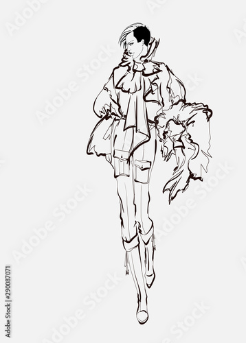 Beautiful young women. Hand drawn fashion girls of black lines on white background. Fashion model posing. Sketch. Vector illustration.