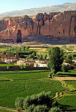 Bamyan (Bamiyan) In Central Afghanistan. This Is A View Over The Bamyan (Bamiyan) Valley Showing The Large Buddha Niche In The Cliff. The Buddhas Were Destroyed By The Taliban. UNESCO Site Afghanistan