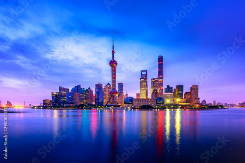 Cityscape of Shanghai at twilight sunset Canvas Print