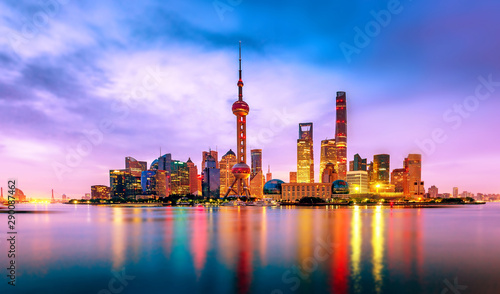 Fotografia  Cityscape of Shanghai at twilight sunset