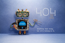 404 Error Page Not Found. Serviceman Robot With Hammer And Pliers On Blue Background. Text Message Something Went Wrong But We Are Working On It