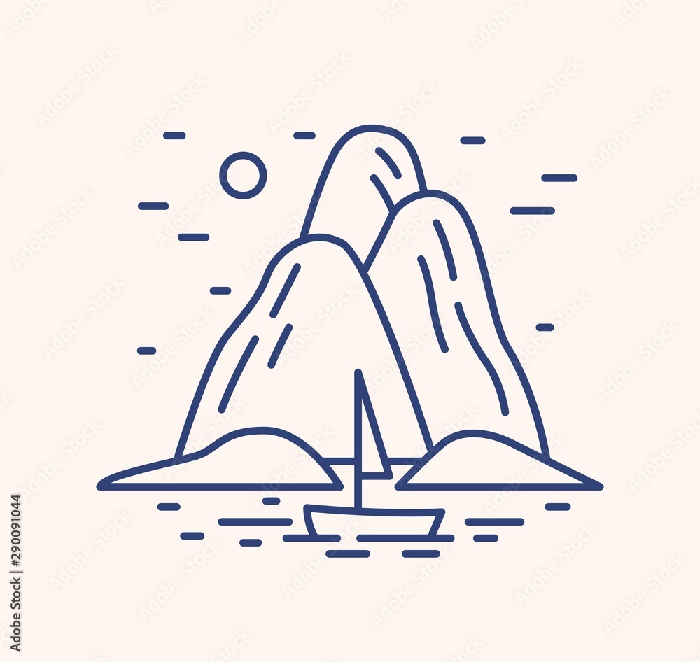 Fototapeta Yacht in sea landscape outline vector illustration. Blue linear summer seascape isolated on white background. Rocks island and sailing boat in ocean line art signs. Marine scenery contour symbol.