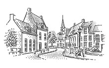 European Town Street Line Illustration.  Vector.