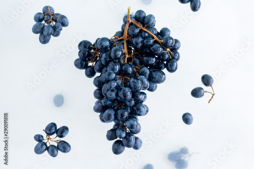 fresh ripe organic black grapes levitate in the air on white background, healthy eating and lifestyle - 290091818