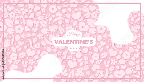 Fototapeta Happy Valentines Day Banner Template Love Concept Background With Soft Pink Hearts And Flowers Creative Vector Design For Party