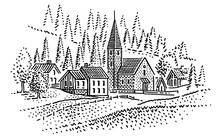 Village In Mountains Engraving Style Illustration. Vector.