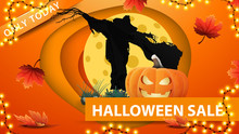 Halloween Sale, Orange Discount Web Banner In Paper Cut Style With Scarecrow And Pumpkin Jack Against The Moon. Modern Design Of Discount Banner