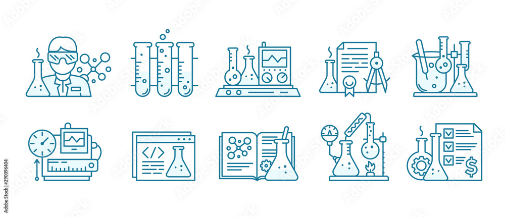 Fototapeta Chemistry science icon set. Education lab background. The production of chemicals kit. Laboratory research experiments equipment. Outline contour blue line.