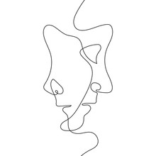 Continuous One Line Drawing. O...