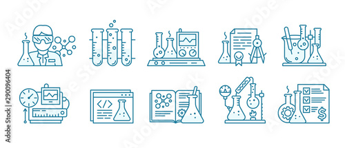 Fototapeta Chemistry science icon set. Education lab background. The production of chemicals kit. Laboratory research experiments equipment. Outline contour blue line. obraz