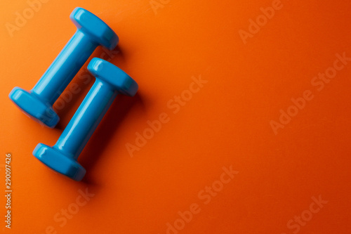 Pinturas sobre lienzo  Two blue dumbbells for a girl on an orange background, top view
