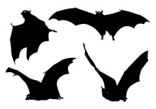 Halloween Black Bat Icon Set. ...