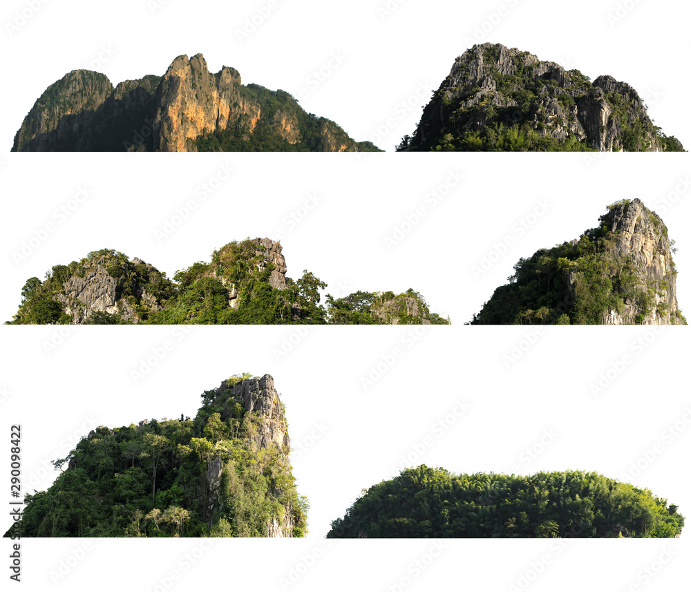 Fototapety, obrazy: collection rock mountain hill with  green forest isolate on white background