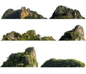collection rock mountain hill with  green forest isolate on white background