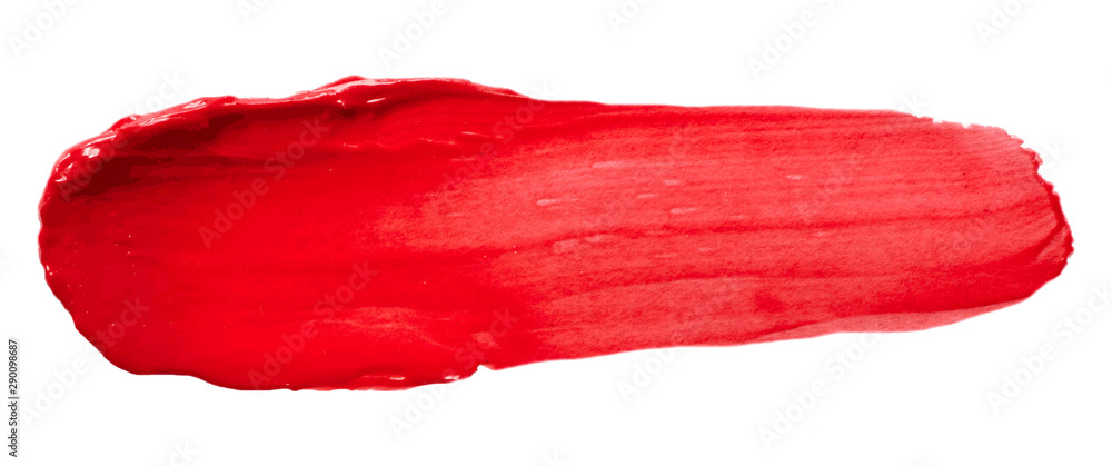 Fototapeta Vector red glossy paint texture isolated on white - acrylic banner for Your design