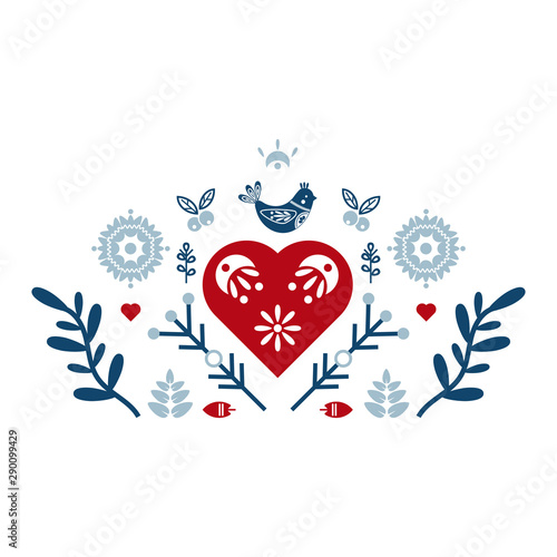 Folk art vector ornament with bird, hearts, and flowers Slika na platnu
