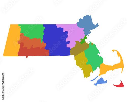 Fotografia Karte von Massachusetts