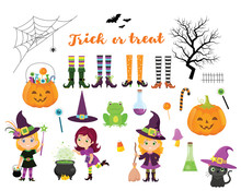 Set Of Witches And Disign Elements For Halloween