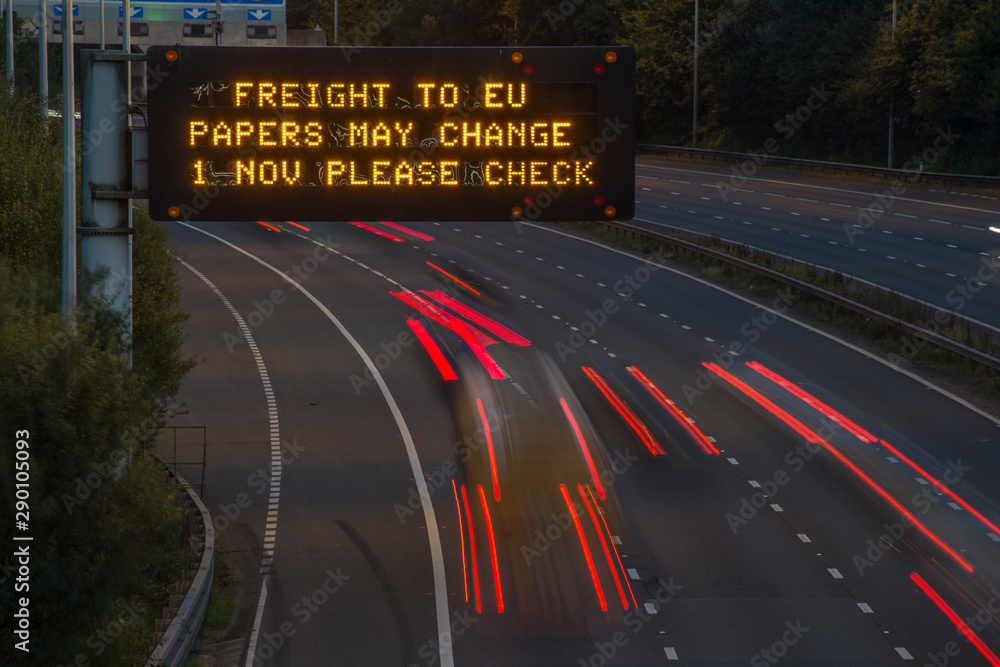 Fototapety, obrazy: Brexit Freight UK Motorway Signage With Blurred Vehicles