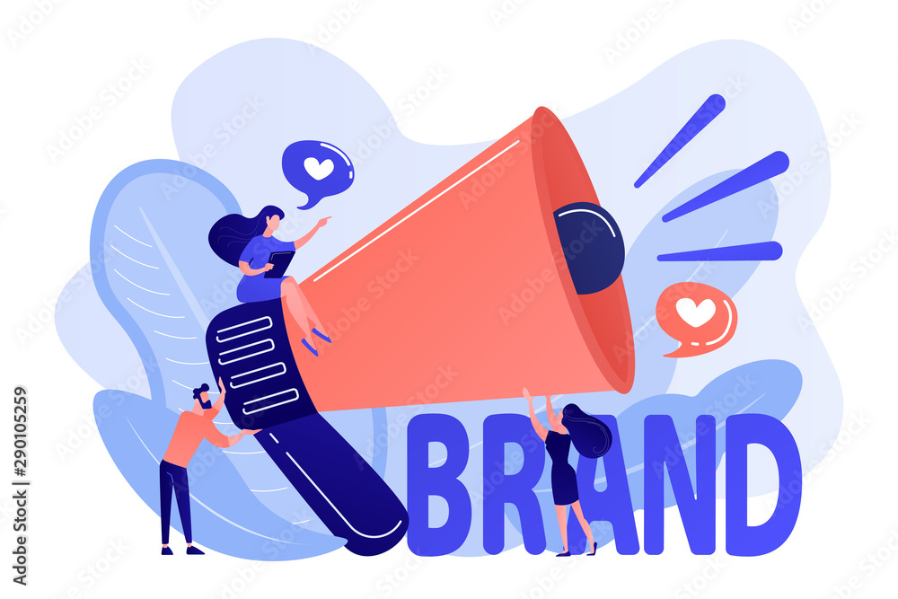 Fototapeta Marketers with megaphone conducting brand awareness campaign. Brand awareness, product research result, marketing survey metrics concept. Living coral bluevector isolated illustration