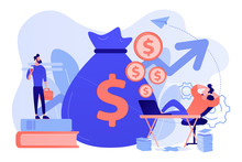 Stock Market Investing, Online Monetization. Remote Job, Freelance Work. Passive Income, Rental Activity Income, Passive Income Investment Concept. Bright Vibrant Violet Vector Isolated Illustration
