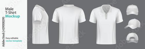 Obraz  Men's white t-shirt with short sleeve mockup. Vector template. - fototapety do salonu