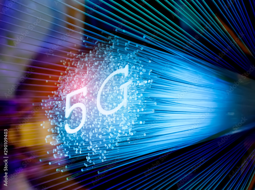 Fototapety, obrazy: 5G signs with Fiber optics background,Communication Concept