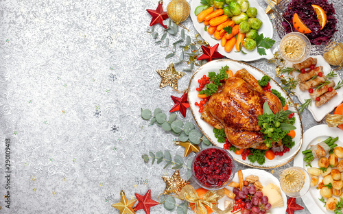Concept of Christmas or New Year dinner. Top view. - 290109418