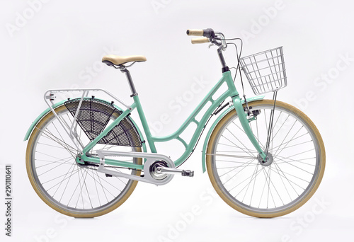 Türaufkleber Fahrrad Urban City Bike Woman Bicycle With Carrier and Basket