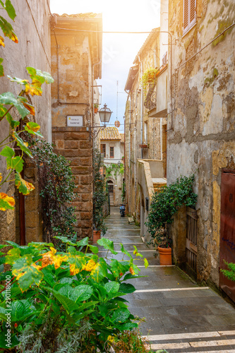 Beautiful alley in Tuscany, Old town, Italy Canvas Print