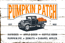 Pumpkin Patch With Old Truck A...