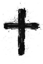 Hand Painted Black Ink Cross W...