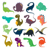 Fototapeta Dinusie - Funny cartoon dinosaurs collection. Vector illustration