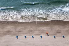 Straight Down Aerial View Of Beach And Ocean Waves In Myrtle Beach, South Carolina.