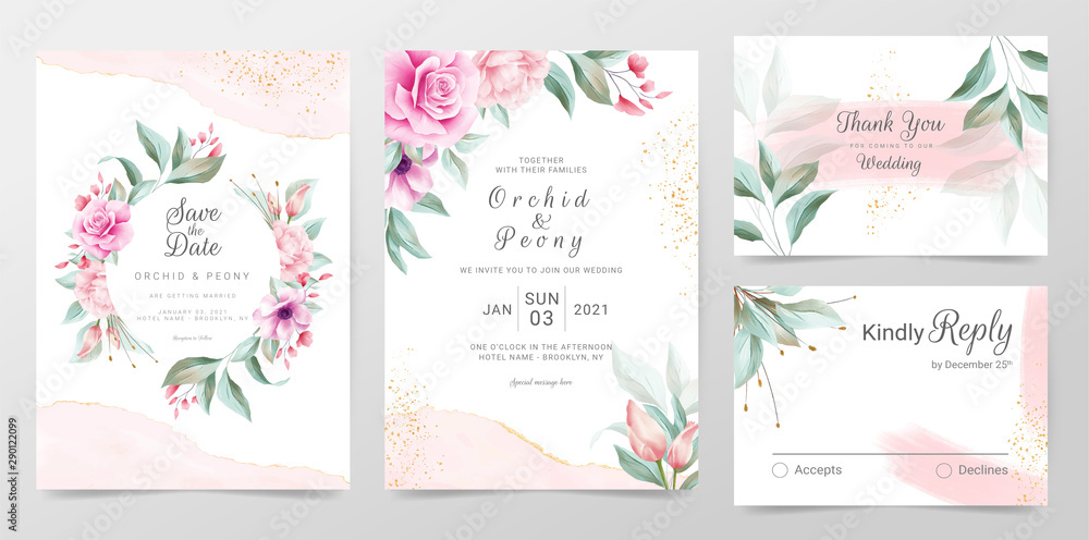 Fototapety, obrazy: Elegant wedding invitation cards template with watercolor floral decoration. Floral frame and golden watercolor textured background