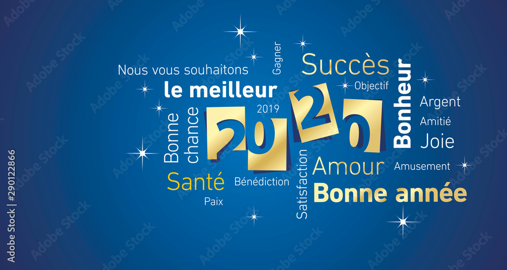 Fototapety, obrazy: Happy New Year 2020 negative space French cloud text gold white blue vector