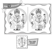 Find 9 Differences Game Ganesha