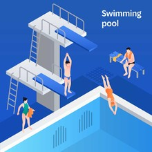 Swimming Pool Concept Banner. ...