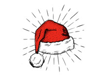 Sketch Of Santa Hat Hand Drawn Illustration