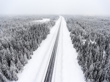 Aerial View At Wintry Road Dur...