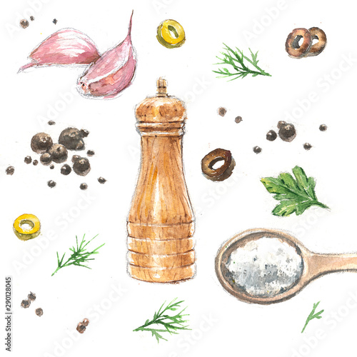 Fototapeta Set of watercolor illustrations of aromatic spices and spices. obraz