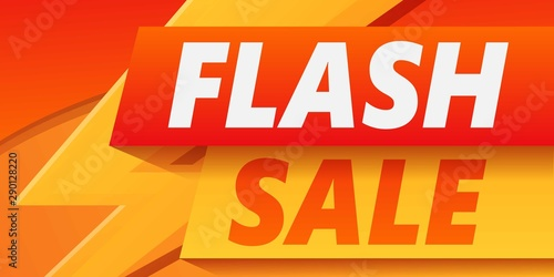 Obraz Flash sale concept banner. Cartoon illustration of flash sale vector concept banner for web design - fototapety do salonu